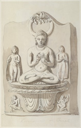Stele showing the Buddha seated in teaching mood, with two robed attendants. 15 December 1788